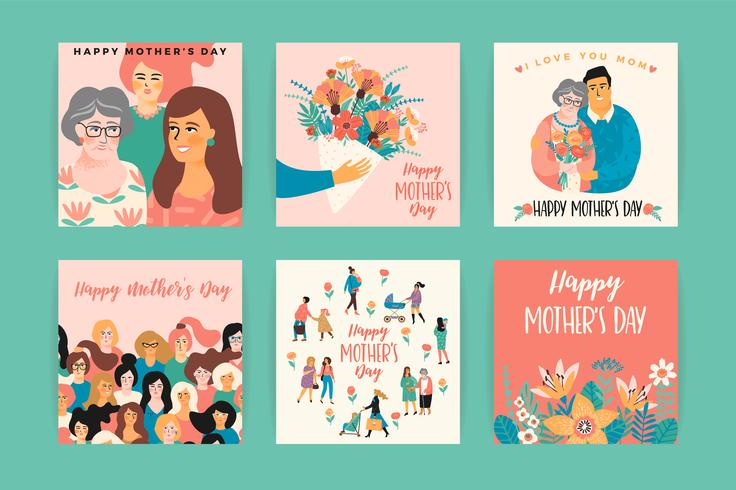 Feliz Dia das Mães. Modelos de vetor. vetor