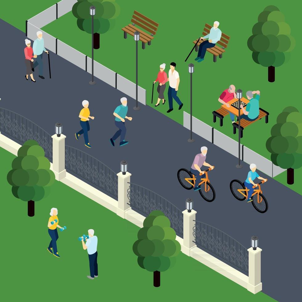 ilustração em vetor ilustração isométrica atividade de lazer pensionistas