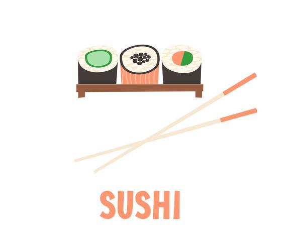 Sushi. Ilustração japonesa do vetor do rolo de sushi do alimento.