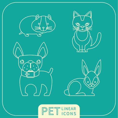 Ícones lineares de vetor de animais de estimação.