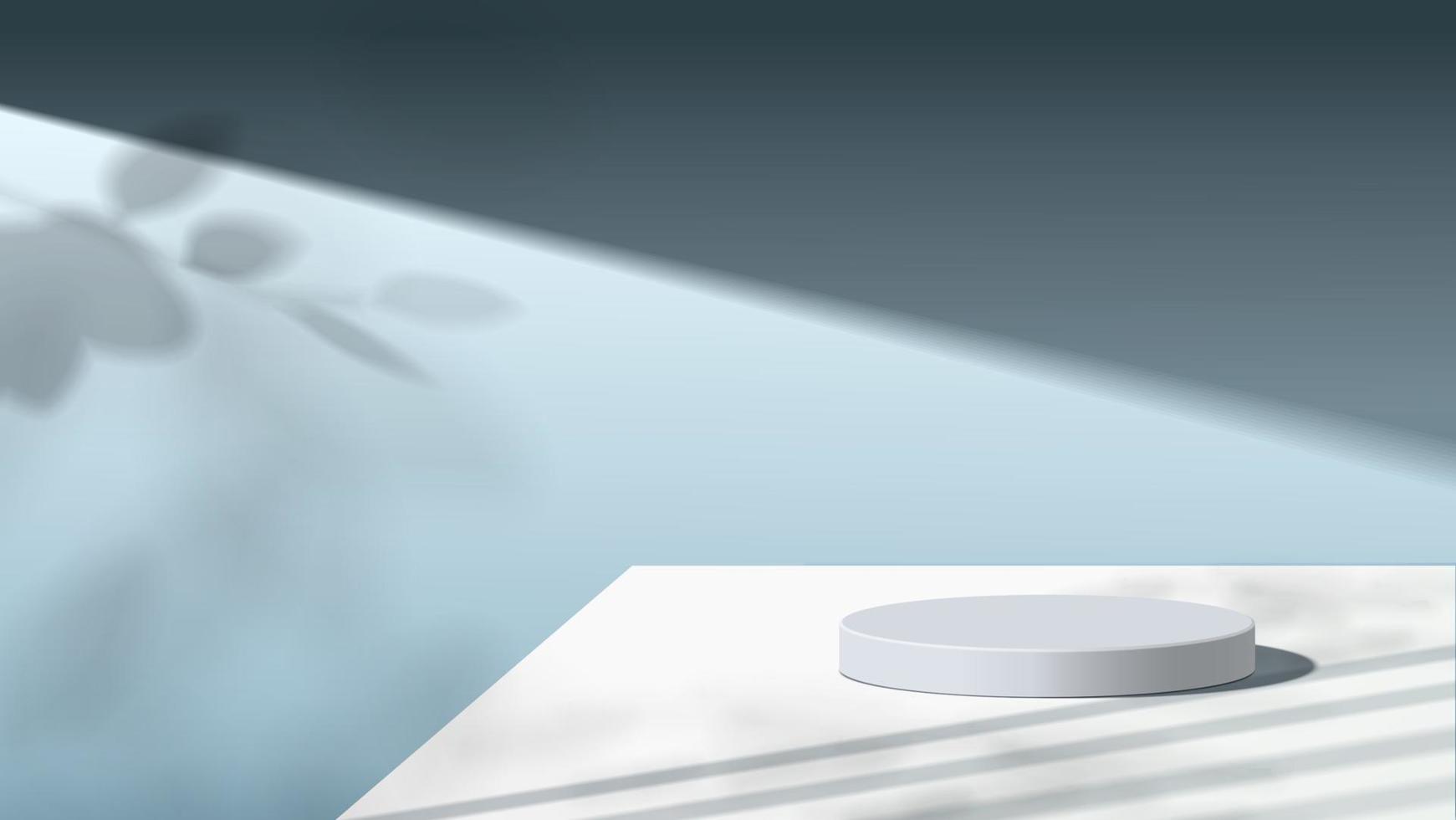 cena mínima abstrata com formas geométricas. pódio de madeira no fundo. apresentação do produto, mock up, display de produto cosmético, pódio, pedestal de palco ou plataforma. Vetor 3d