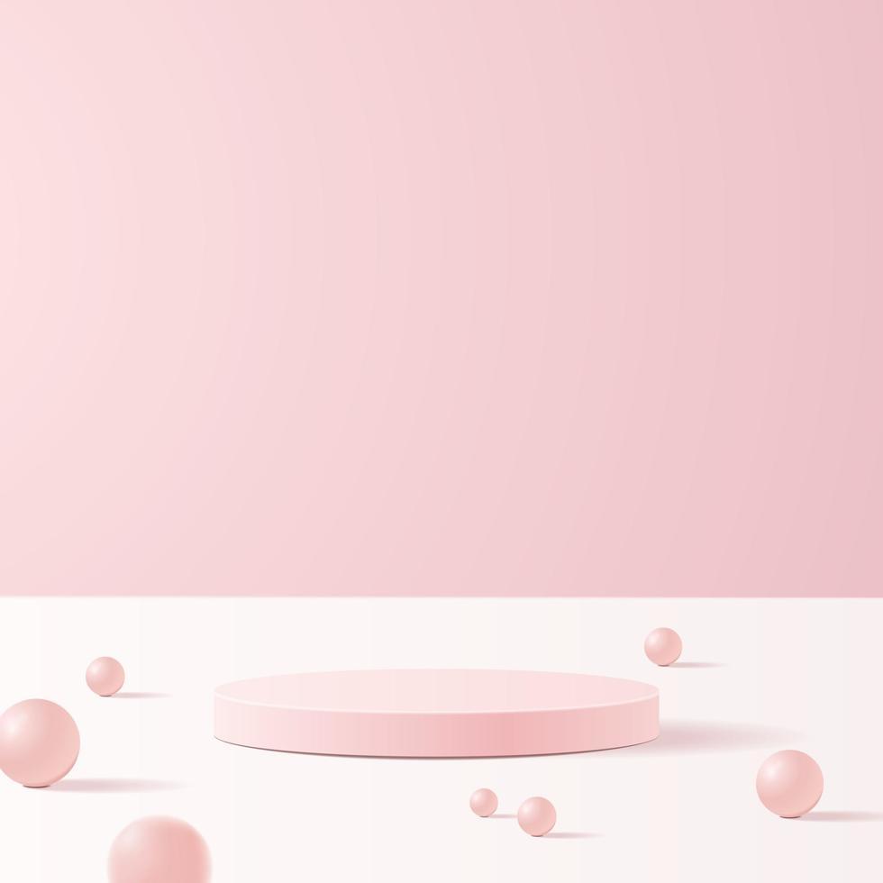 cena mínima com formas geométricas. pódios do cilindro em fundo rosa suave com folhas de papel na coluna. cena para mostrar o produto cosmético, vitrine, vitrine, vitrine. Ilustração em vetor 3D.
