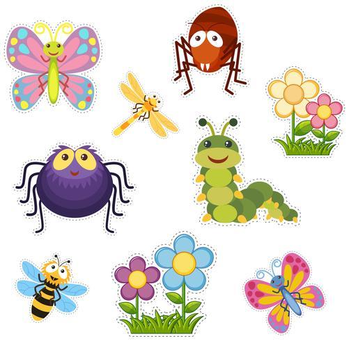 Design de adesivo com insetos e insetos vetor