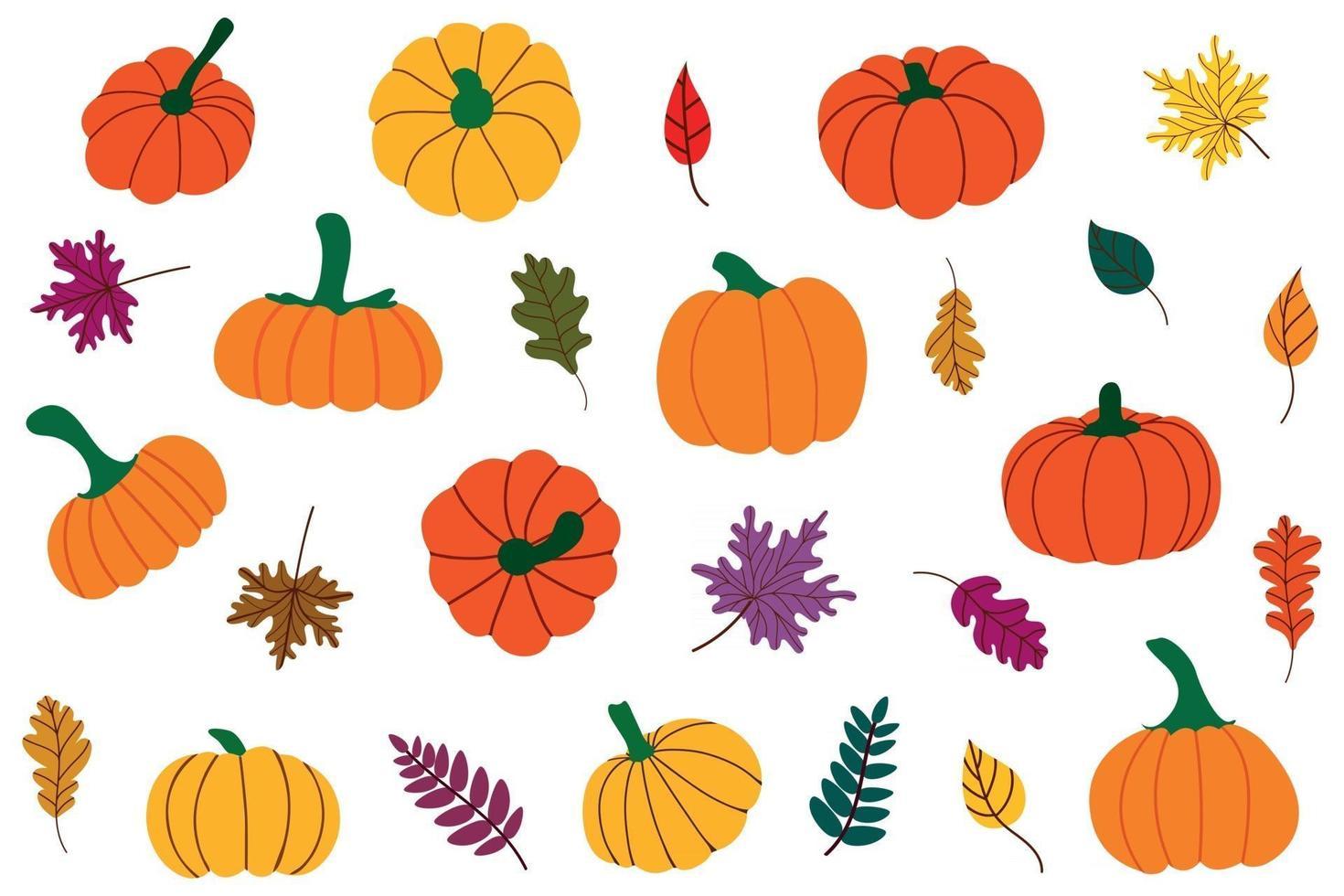 folhas caídas de outono e abóboras. conjunto de ação de graças, colheita, ilustração de halloween.vector vetor