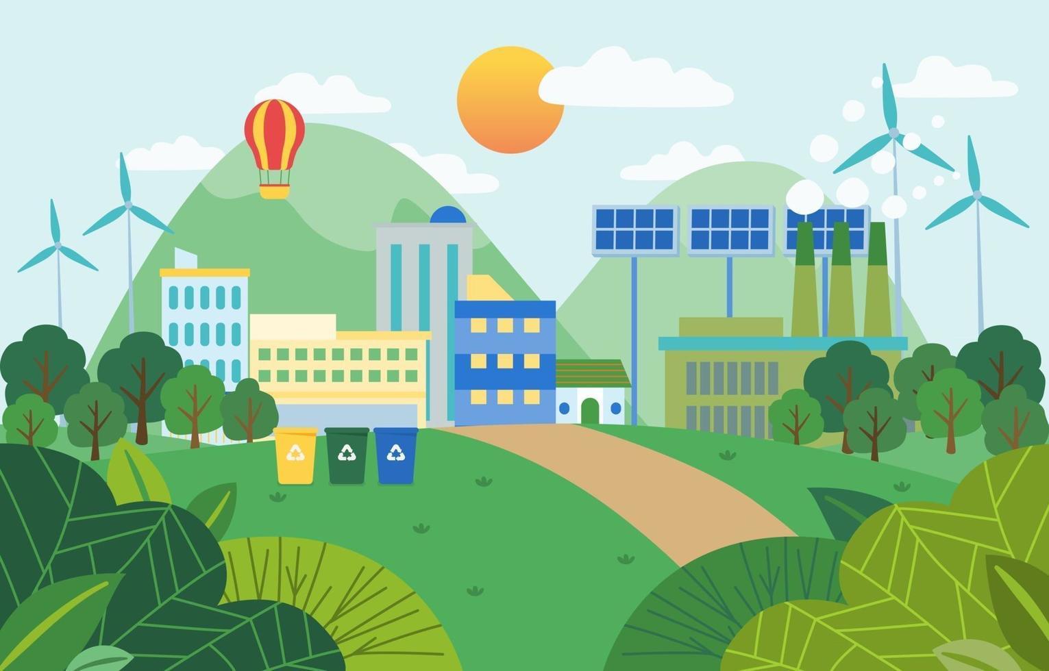 vetor de modelo de fundo de cidade ecológica verde e paisagem natural