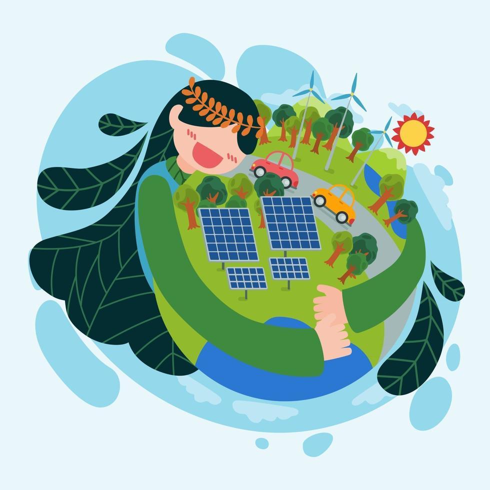 mulher bonita abraçando o globo usando vetor de energia renovável do dia da terra