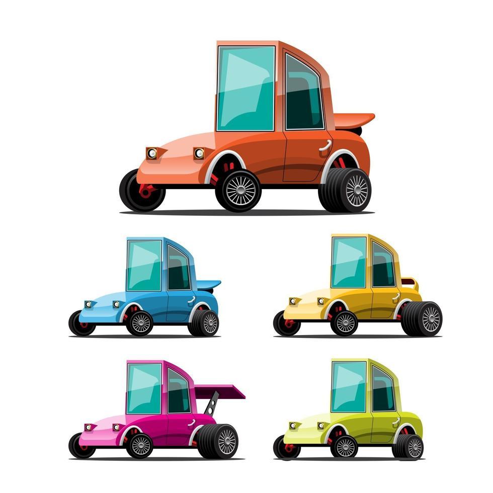 pacote conjunto de carro esporte em vetor de personagem de desenho animado