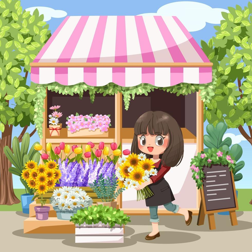 florista jovem alegre com avental na floricultura vetor