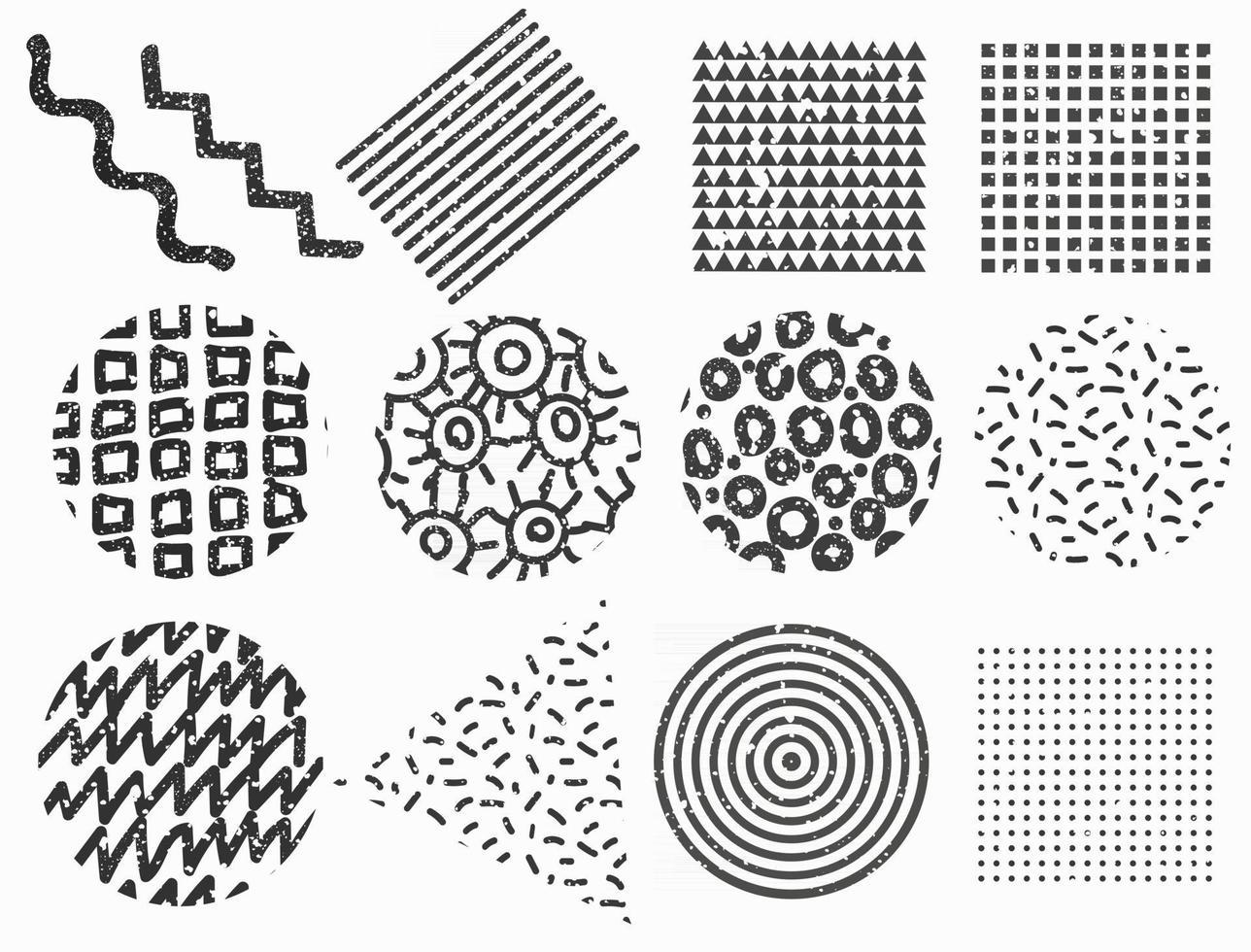 conjunto de formas geométricas de memphis. elementos texturizados do vetor para web design.