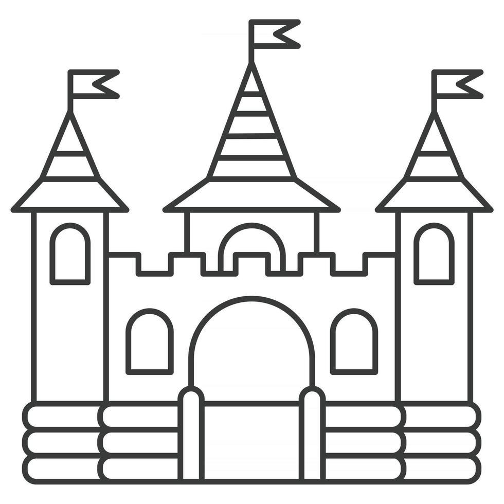ícone de contorno do castelo inflável. pulando de casa no parque infantil. ilustração vetorial. vetor