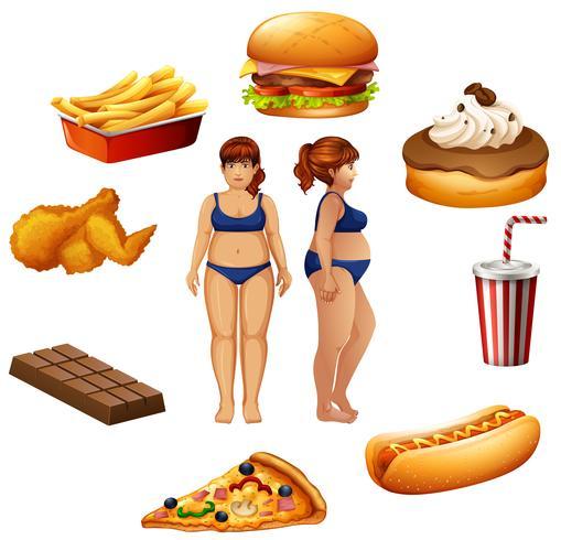 Mulheres com sobrepeso e alimentos não saudáveis vetor