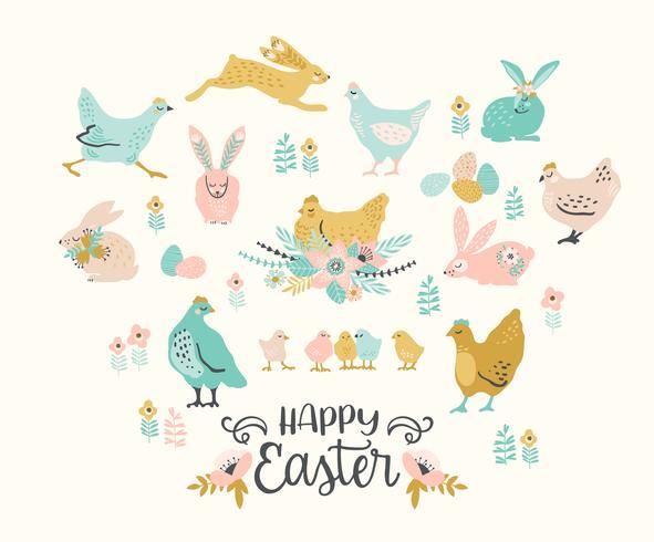 Feliz Páscoa. Conjunto de vetores de frango de Páscoa e coelhos para cartão, cartaz, flyer e outros usuários.