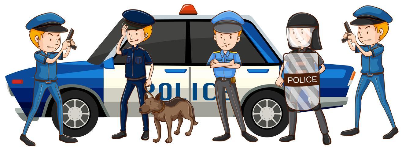 Policiais em uniformes diferentes pelo carro vetor