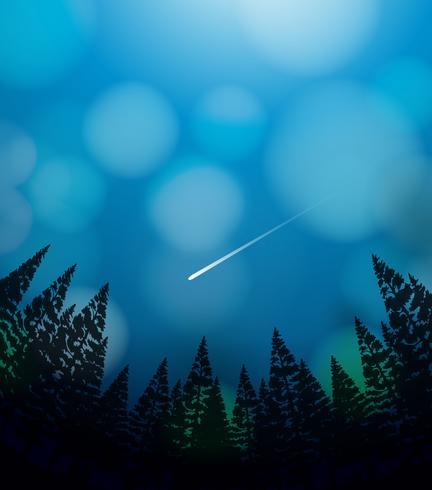 Uma chuva de meteoros no céu vetor