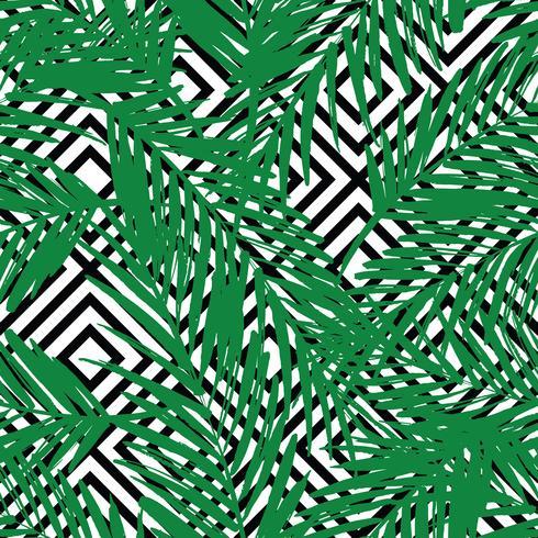 Sem costura padrão exótico com folhas de palmeira sobre fundo geométrico. vetor