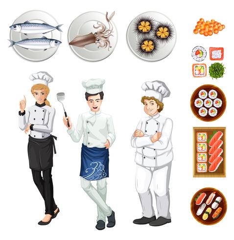 Chefs e pratos diferentes de comida vetor