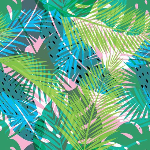Impressão de verão tropical com palm. Padrão sem emenda vetor