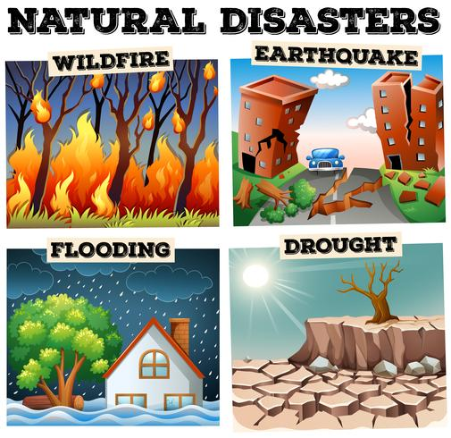 Diferentes tipos de desastres naturais vetor