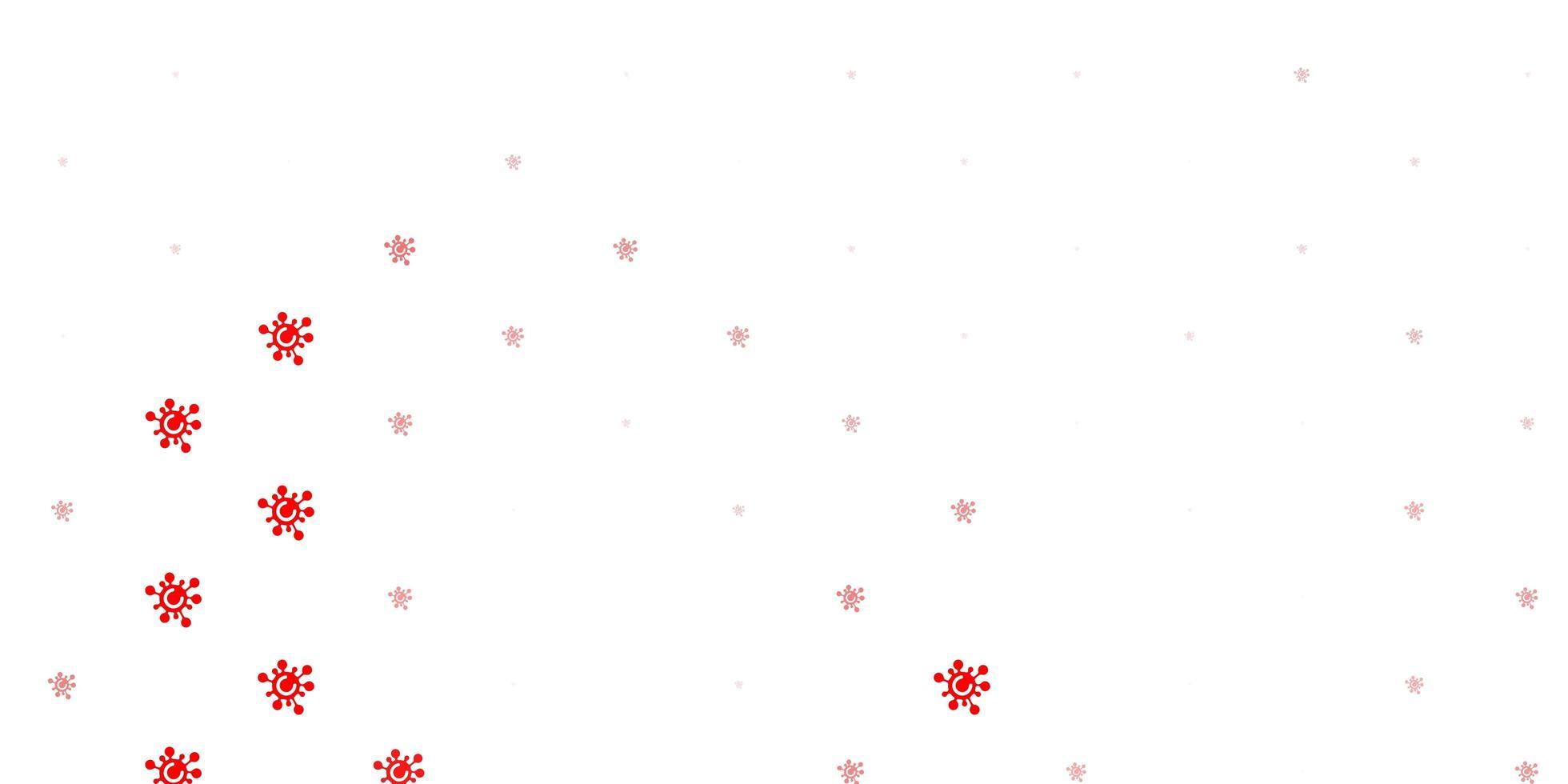 pano de fundo vector vermelho claro com símbolos de vírus.