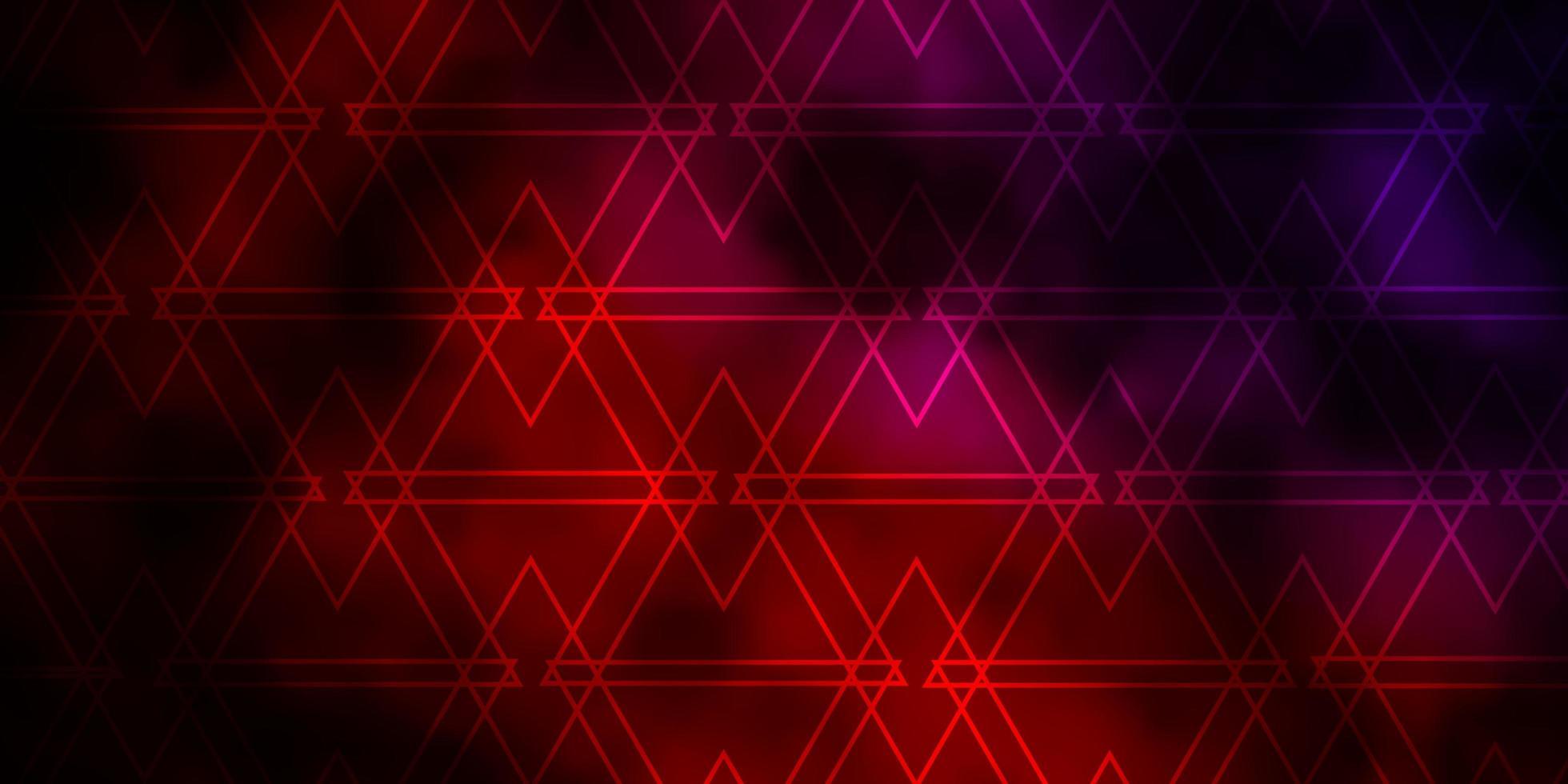layout de vetor rosa escuro e vermelho com linhas, triângulos.