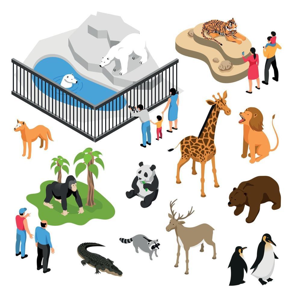 ilustração vetorial conjunto isométrico de pessoas de zoológico vetor