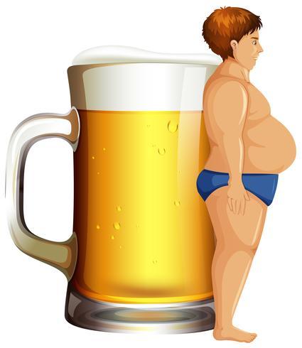 Um, homem, com, barriga cerveja vetor