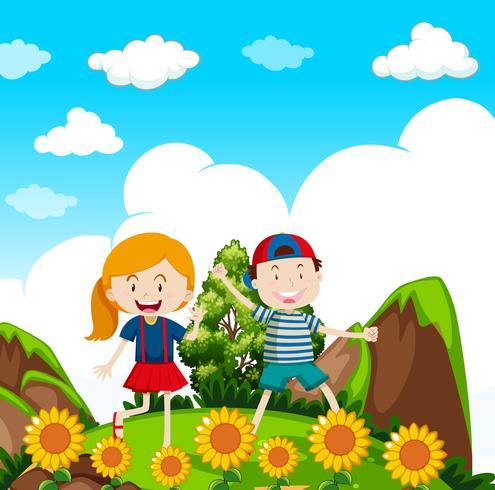 Crianças Caminhadas na natureza vetor
