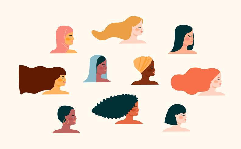 Vector a ilustração com com nacionalidades e culturas diferentes das mulheres.