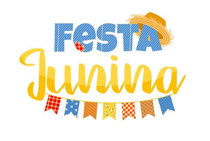 Feriado da América Latina, a festa junina do Brasil. Design de letras. vetor