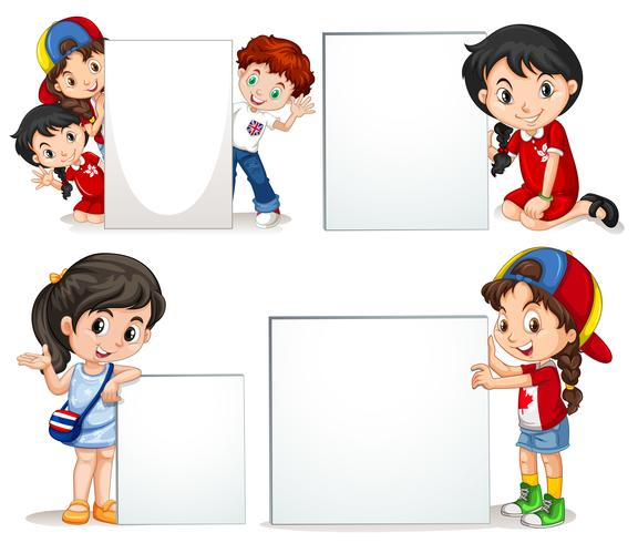 Crianças, segurando, branca, sinal vetor