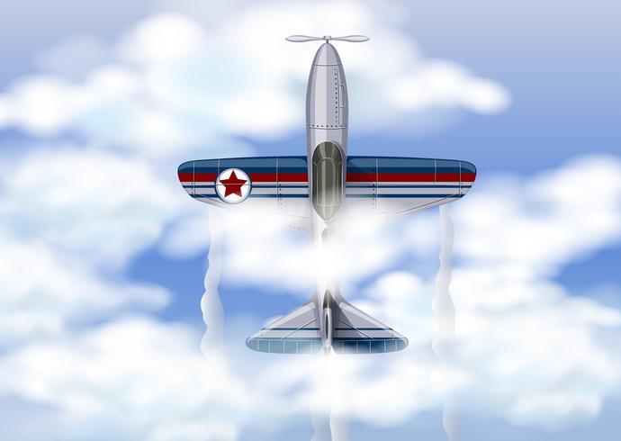 Avião militar no céu thr vetor
