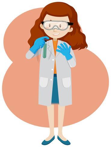 Um jovem cientista e tubo de ensaio vetor