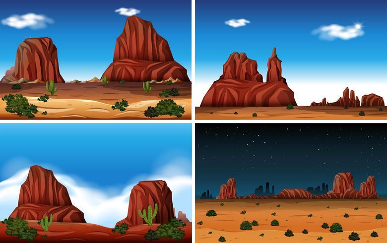 Rock Mountain e cena do deserto vetor