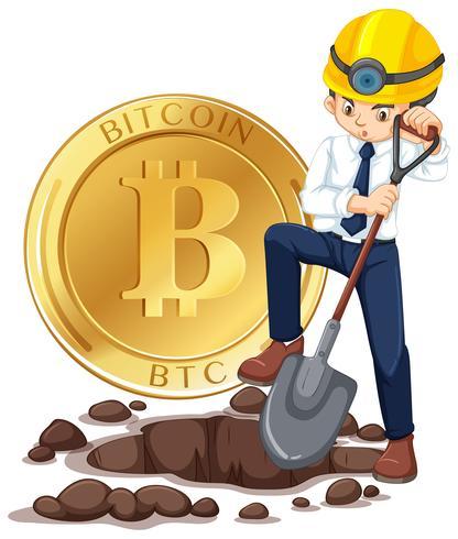 Cyber Coin Mining e Trabalhador vetor