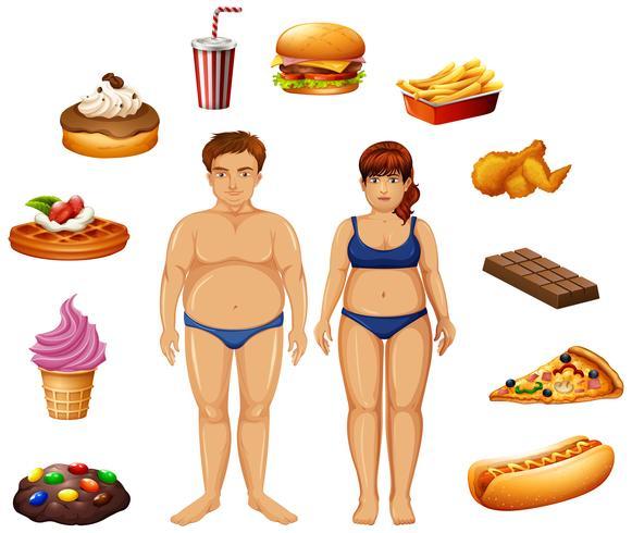 Pessoas com excesso de peso com alimentos não saudáveis vetor