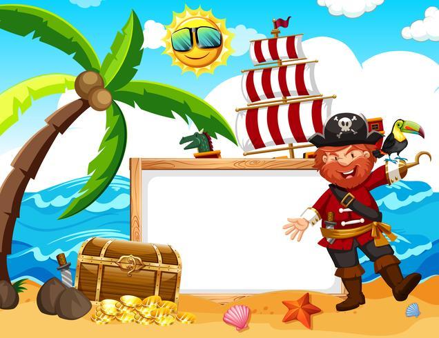 Um, pirata, bandeira, praia vetor