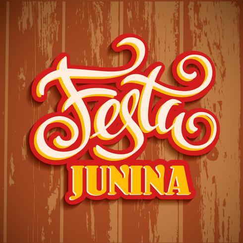 Feriado da América Latina, a festa junina do Brasil. Design de letras na textura de madeira. vetor
