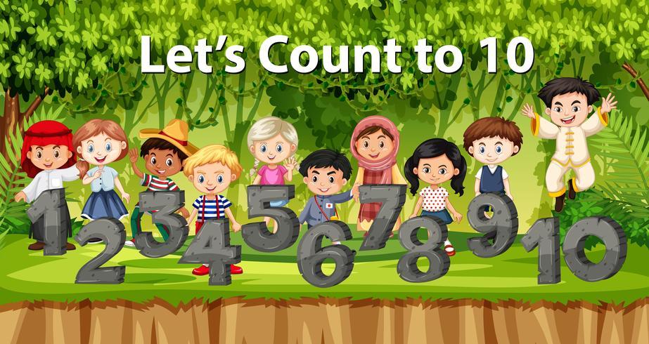 Crianças multiculturais e número no fundo da selva vetor