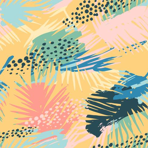 Sem costura padrão exótico com plantas tropicais e artistico. vetor