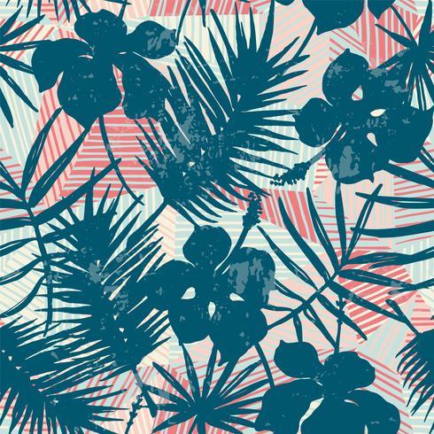 Sem costura padrão exótico com plantas tropicais. vetor