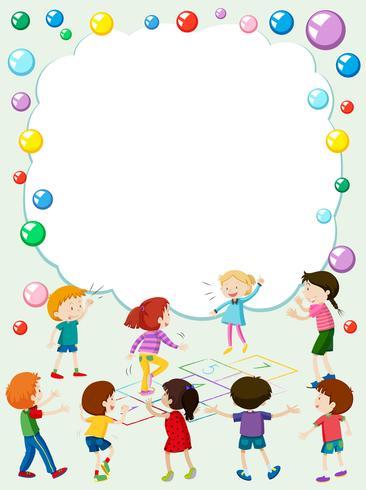 Modelo de fronteira com crianças brincando de amarelinha vetor
