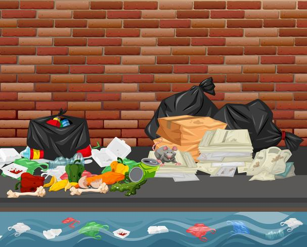 Lixo na cidade vetor