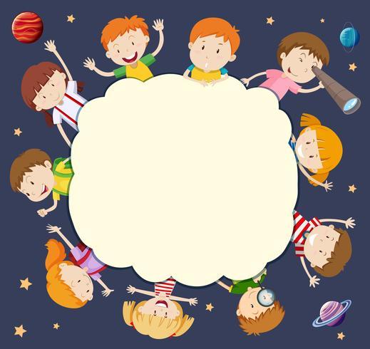 Quadro em branco com as crianças ao redor no espaço vetor