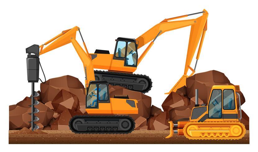 Veículos de construção que trabalham no local vetor