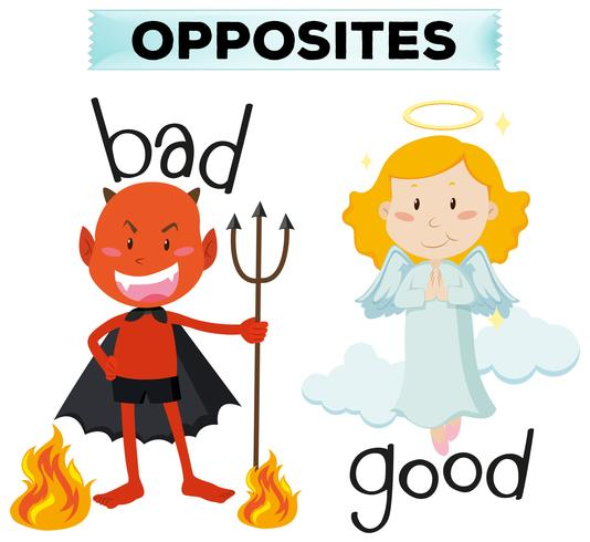 Palavras opostas com más e boas vetor