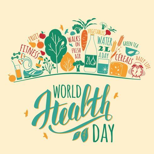 Ilustração em vetor dia mundial da saúde.