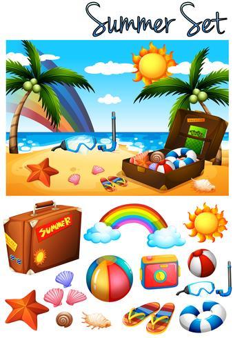 Tema de verão com brinquedos na praia vetor