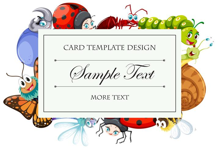 Modelo de cartão com muitos bugs vetor