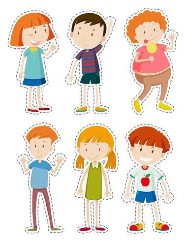 Conjunto de adesivos de crianças felizes vetor