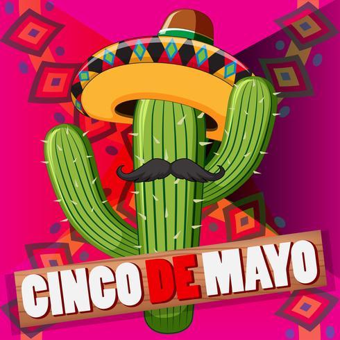 Design de cartaz de cinco de maio com cacto usando chapéu vetor